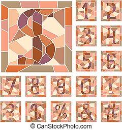 mosaik, numerisk, gestalter.