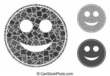 mosaik, smile, ikon, humpy, mønt, elementer