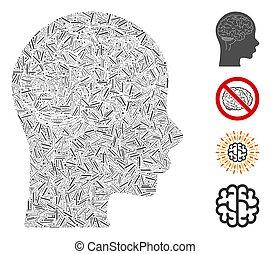 mosaik, vektor, ikon, linjär, hjärna