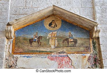 mosaik, von, der, bisceglie, cathedral., apulia.