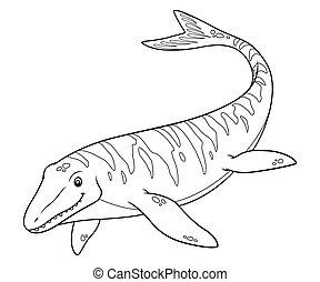Mosasaurus Cartoon BW