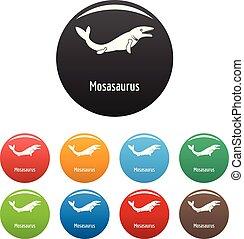 Mosasaurus icons set color vector - Mosasaurus icon. Simple...