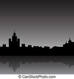 moscú, ciudad, silueta, contorno, vector, ilustración