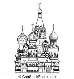 moscú, vector, santo, albahaca, catedral