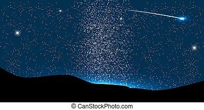 mosca, alrededor, space., planeta, vector, cometa, ...
