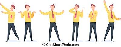 mosca, apartamento, silueta, corrida, negócio, feliz, alegria, zangado, character., person., gerente, desenhos animados, homem negócios, sujeito, poses, vendedor, caricatura, salto