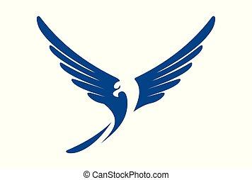 mosca, aquila, astratto, vettore, logotipo