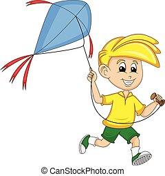 mosca, aquilone, ragazzo, vettore, cartone animato, illustrazione