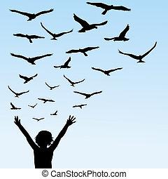 mosca, aves, aprendizaje, ilustración, niño