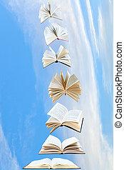 mosca, azul, livros, céu, pilha