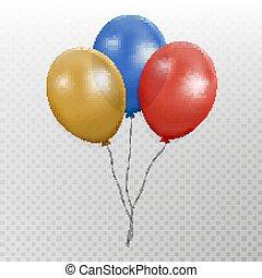 mosca, balão, cor, balloon, isolado, experiência., vector., partido, branca, shadov, fita, grupo