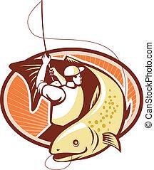mosca, bamboleo, pez, pescador, retro, trucha