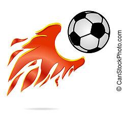 mosca, bola, fogo, futebol, sinal, desporto