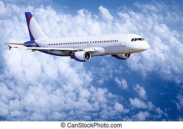 mosca, céu, avião, nuvens