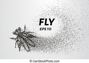 mosca, círculos, ilustração, particles., vetorial, points., consiste