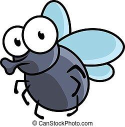 mosca, carino, poco, cartone animato, insetto