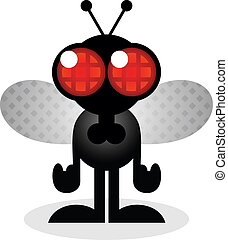 mosca, casa, carácter, caricatura