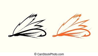 mosca, -, cebo, pesca, iconos