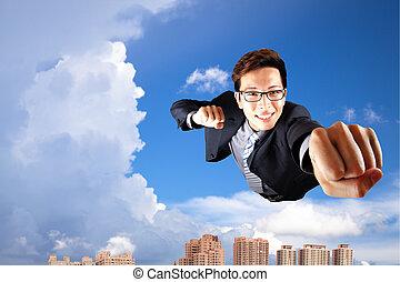 mosca, cidade, sobre, céu, homem negócios