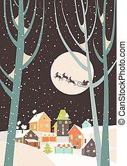 mosca, città, sopra, claus, renna, santa, sleigh