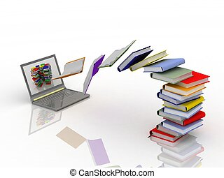 mosca, computador portatil, libros, su