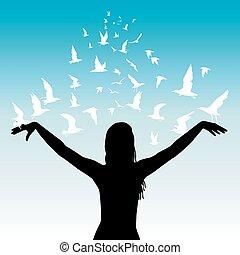 mosca, conceito, abstratos, mulher, aprendizagem, pássaros