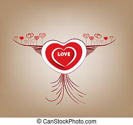 mosca, coração, valentines, asas