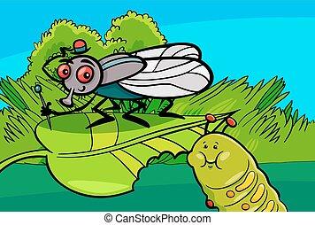mosca, e, bruco, cartone animato, insetto, caratteri