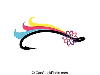mosca, emblema, pesca, colorido