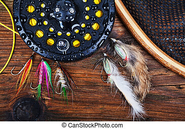 mosca, equipamento, pesca