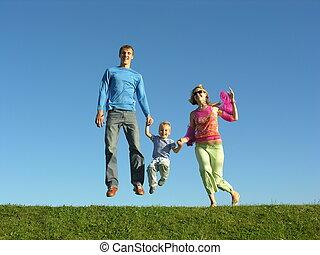 mosca, família feliz, ligado