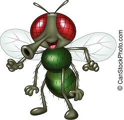 mosca, feliz, aislado, caricatura
