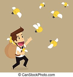 mosca, idea affari, presa a terra, bulbo, brainstormt, uomo