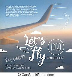 mosca, let's, línea aérea, tipográfico, cartel