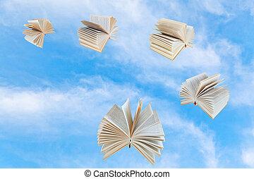 mosca, livro azul, céu, poucos