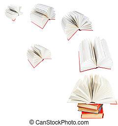 mosca, livros, abertos, pilha, saída