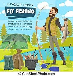 mosca, lucio, trastos, sport., pescador, pesca