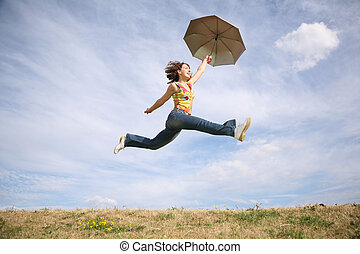 mosca, mulher, guarda-chuva
