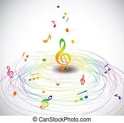 mosca, notas., coloridos, vetorial, música, fundo