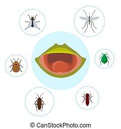 mosca, nutrição, bufo, illustration., chain., rãs, biologia, bugs, rã, moscito, alimento, vetorial, froggy, crocket, mouth., ou, tod, europeu