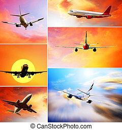 mosca, nuvens, colagem, aviões, céu, fotografias