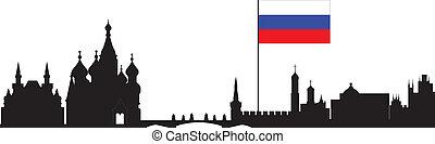 mosca, orizzonte, con, russi flag