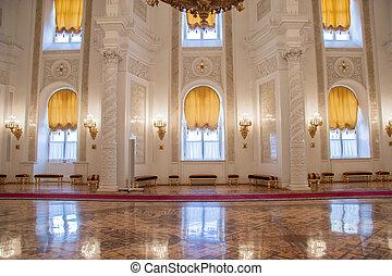 mosca, palazzo, cremlino, georgievsky, salone