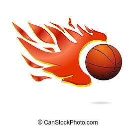mosca, pallacanestro, segno fuoco, palla, arancia, rosso