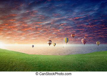mosca, prado, céu, glowing, ar, quentes, pôr do sol, acima, verde, balões