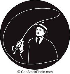mosca, retro, traje, barra, corbata, círculo, gángster, bastidor