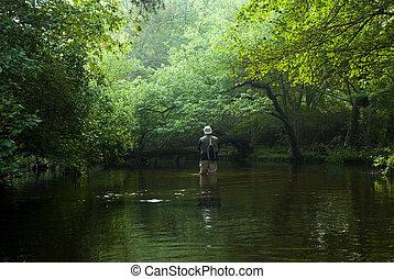 mosca, rio, pescador