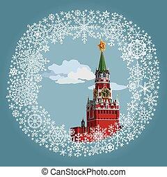 mosca, russia., illustrazione, cremlino, frame.
