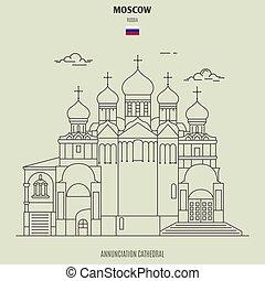 mosca, russia., punto di riferimento, cattedrale, annunciazione, icona