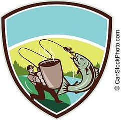 mosca, salmón, jarra, pescador, retro, cresta